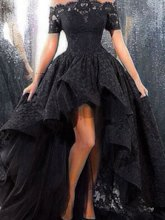 Off-the-Shoulder Short Sleeves Black Lace Prom Dress