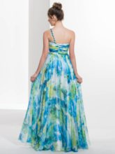 One-Shoulder A-Line Beading Printed Long Prom Dress