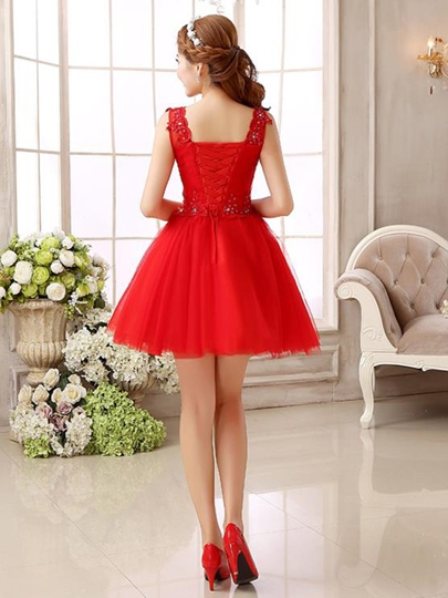 A-Line Scoop Beading Lace Pleats Short Homecoming Dress