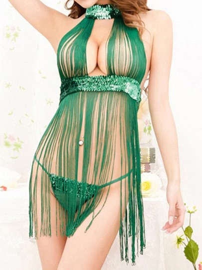 Green Fringed Sexy Women's Babydoll