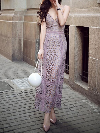 Hollow Backless Spaghetti Strap Women's Lace Dress (Plus Size Available)