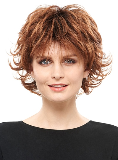 Fluffy Layered Short Straight Synthetic Hair Capless Wig 8 Inches