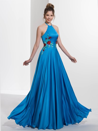 A-Line Hater Appliques Sequins Sweep Train Prom Dress
