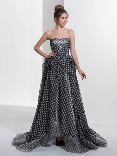 A-Line Sweetheart Pick-Ups Printed Sweep Train Prom Dress