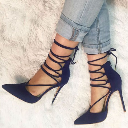 Pointed Toe Slip-On Lace-Up Stiletto Heel Women's Sandals