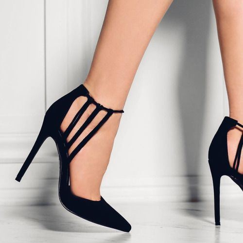 Pointed Toe Plain Hollow Stiletto Heel Women's Sandals