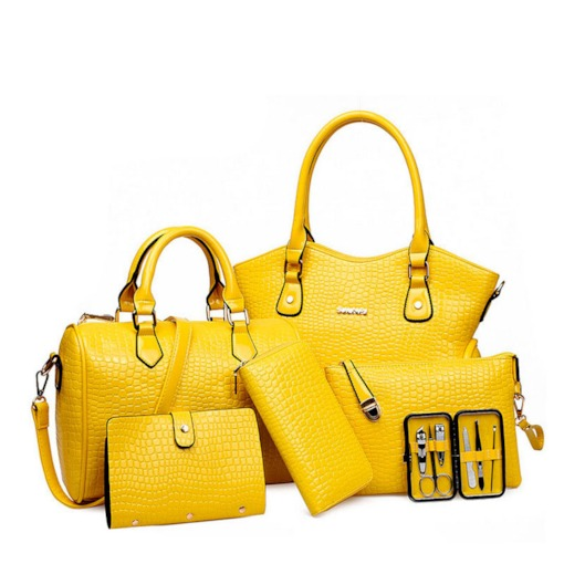 SHFANI Pure Croco Embossed 6 Piece of Bag Sets