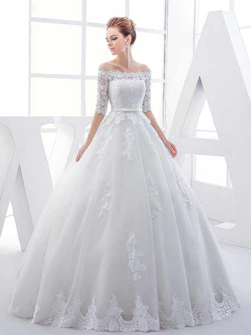Off-The-Shoulder Half Sleeve Appliques Wedding Dress