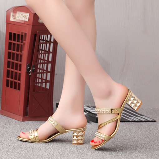 Slip-On Rhinestone Chunky Heel Women's Sandals