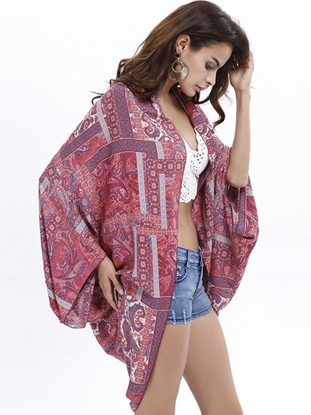Chic Print Three-Quarter Sleeve Loose Women's Kimono