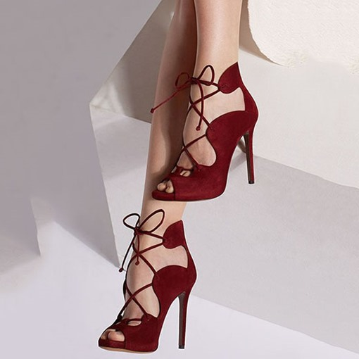 Lace-Up Suede Stiletto Heel Pointed Toe Women's Sandals