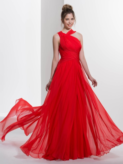 Jewel Neck A-Line Pleats Watteau Train Red Prom Dress