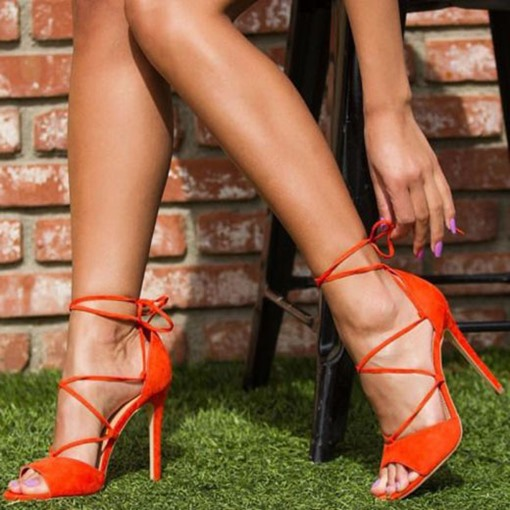 Peep Toe Lace-Up Plain Stiletto Heel Cross Strap Women's Sandals