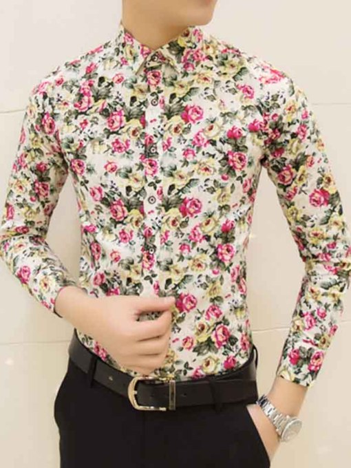 England Style Lapel Floral Printed Slim Fit Men's Long Sleeve Shirt