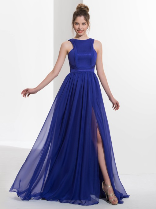 Straps Pleats Split-Front Prom Dress