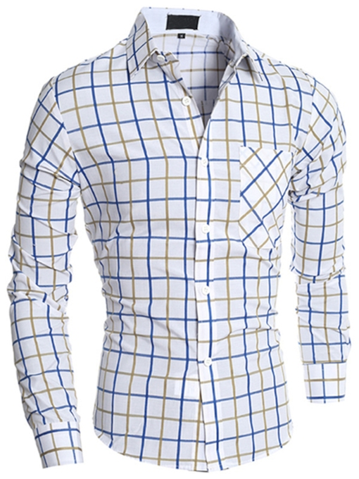 Men's Shirt with Plaid Standard Collar