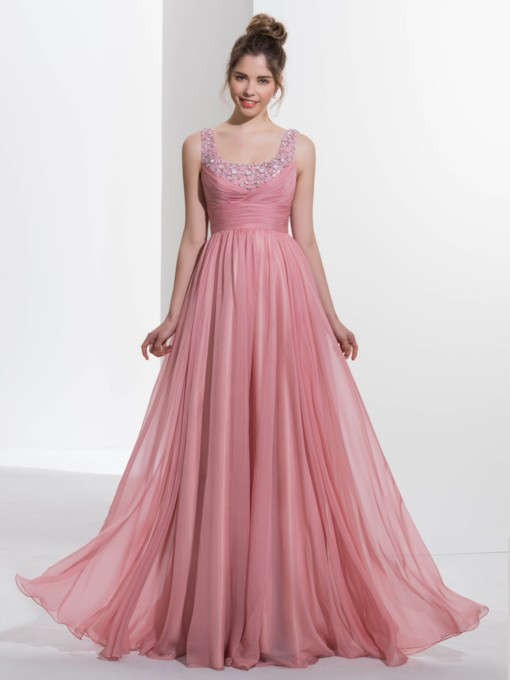 Square Neck Beading Empire Waist Prom Dress