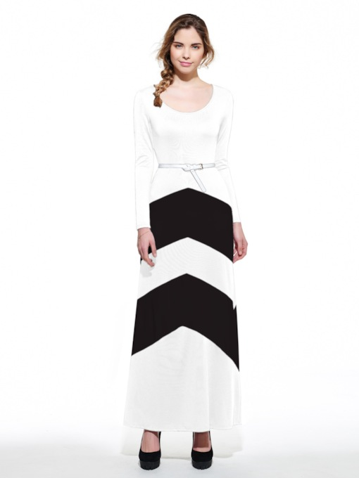 Color Block Belt Long Sleeve Women's Maxi Dress
