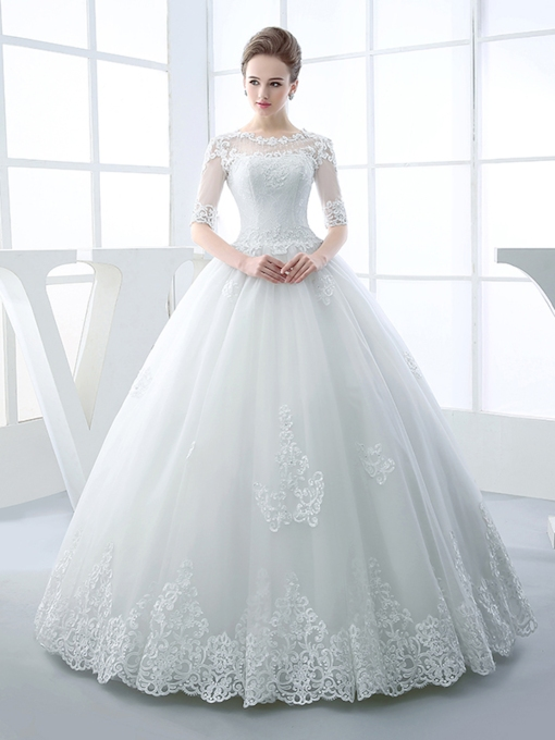 Half Sleeves Appliques Beading Ball Gown Wedding Dress