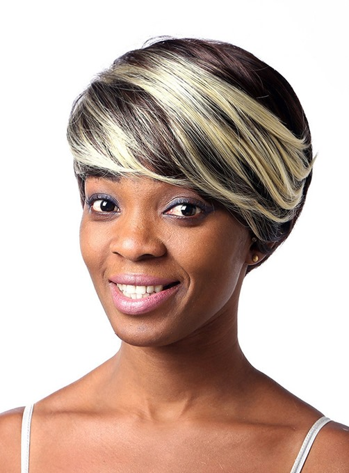 Mixed Color Short Straight Capless Synthetic Hair Wig 8 Inches