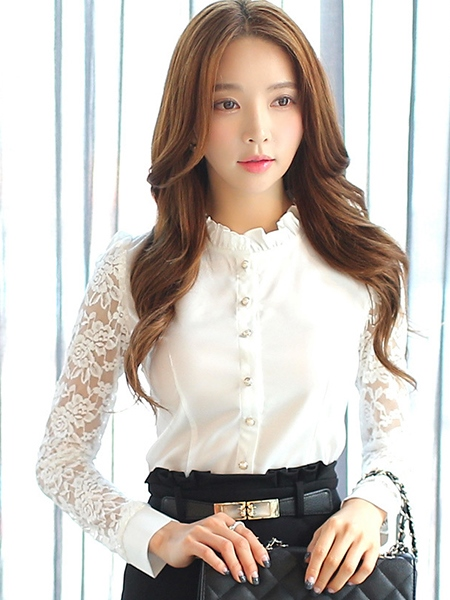 Lace Stand Collar Long Sleeve Slim Women's Shirt