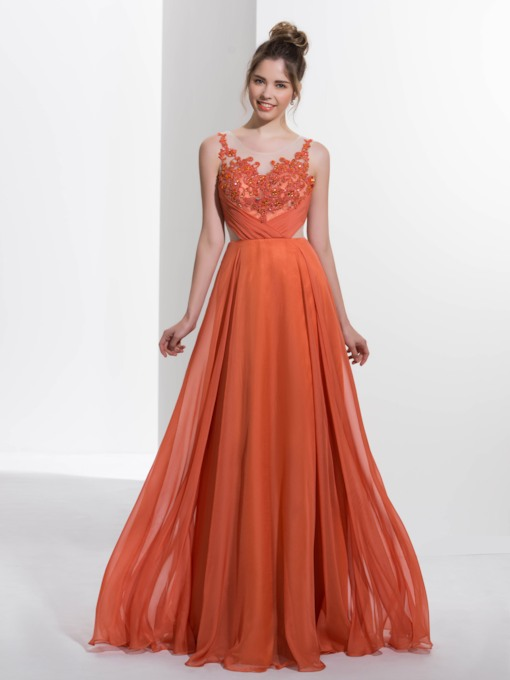 A-Line Scoop Appliques Beading Pleats Long Prom Dress