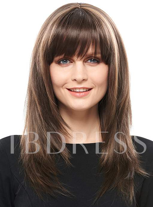 Long Mix Color Synthetic Hair With Bangs Capless Women Wig