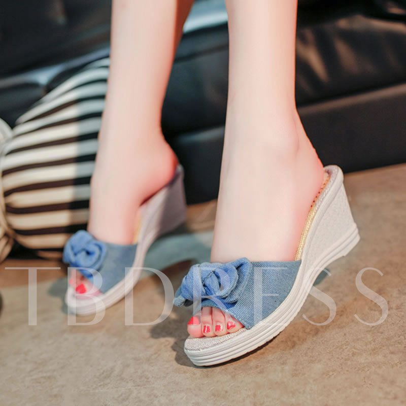 Bowtie Wedge Heel Slip-On Platform Women's Sandals