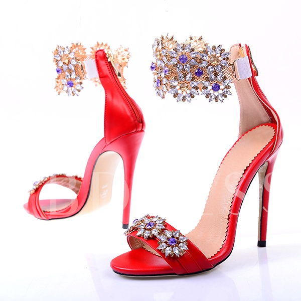 Fancy Rhinestone Stiletto Heel Sandals Women's Wedding Shoes