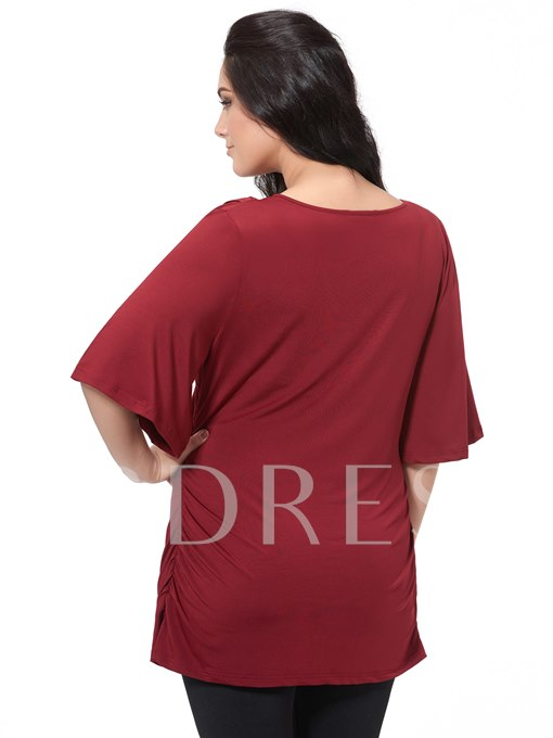 Burgundy V-Neck Plus Size Women's Blouse