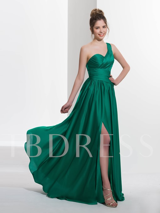 One-Shoulder A-Line Pleats Sequins Sweep Train Prom Dress