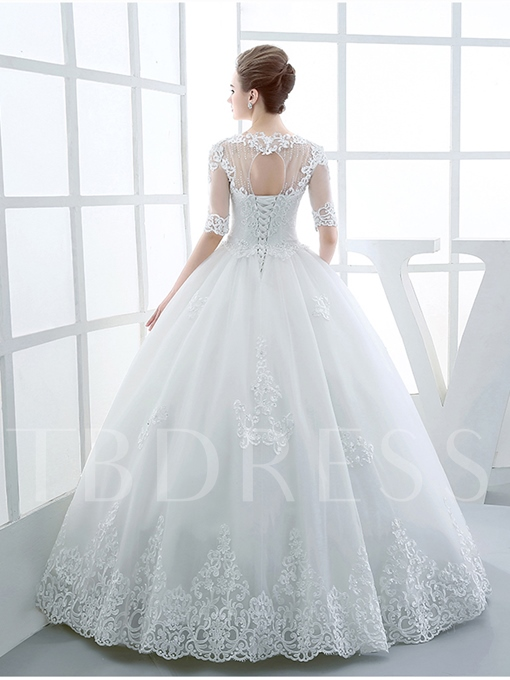 Half Sleeves Appliques Ball Gown Wedding Dress