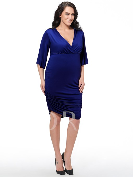 Plain Plus Size Bodycon Flare Sleeve V-Neck Women's Day Dress