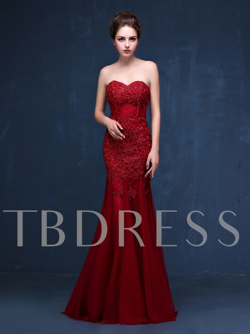 Mermaid Sweetheart Appliques Beading Long Evening Dress