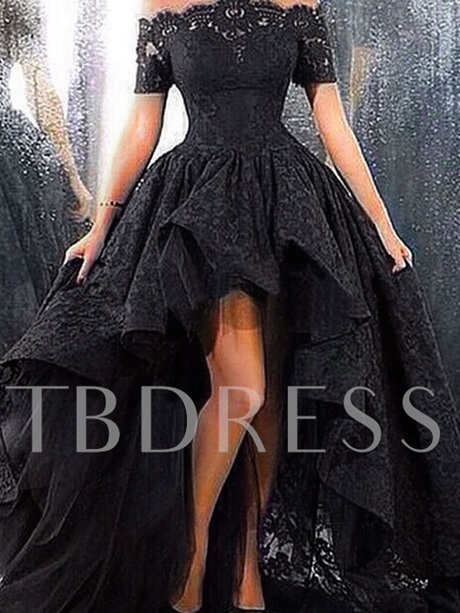 A-Line Off-the-Shoulder Appliques Pearls Lace Prom Dress