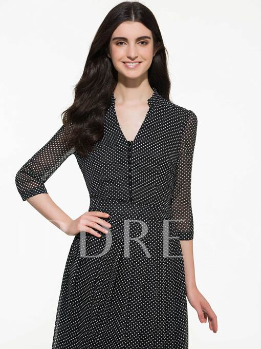 Chiffon Half Sleeve Polka Dots Women's Maxi Dress