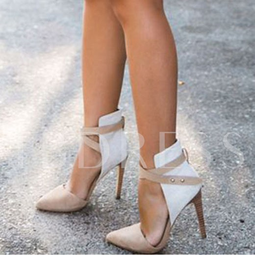 Pointed Toe Slip-On Color Block Stiletto Heel Cross Buckle Women's Sandals