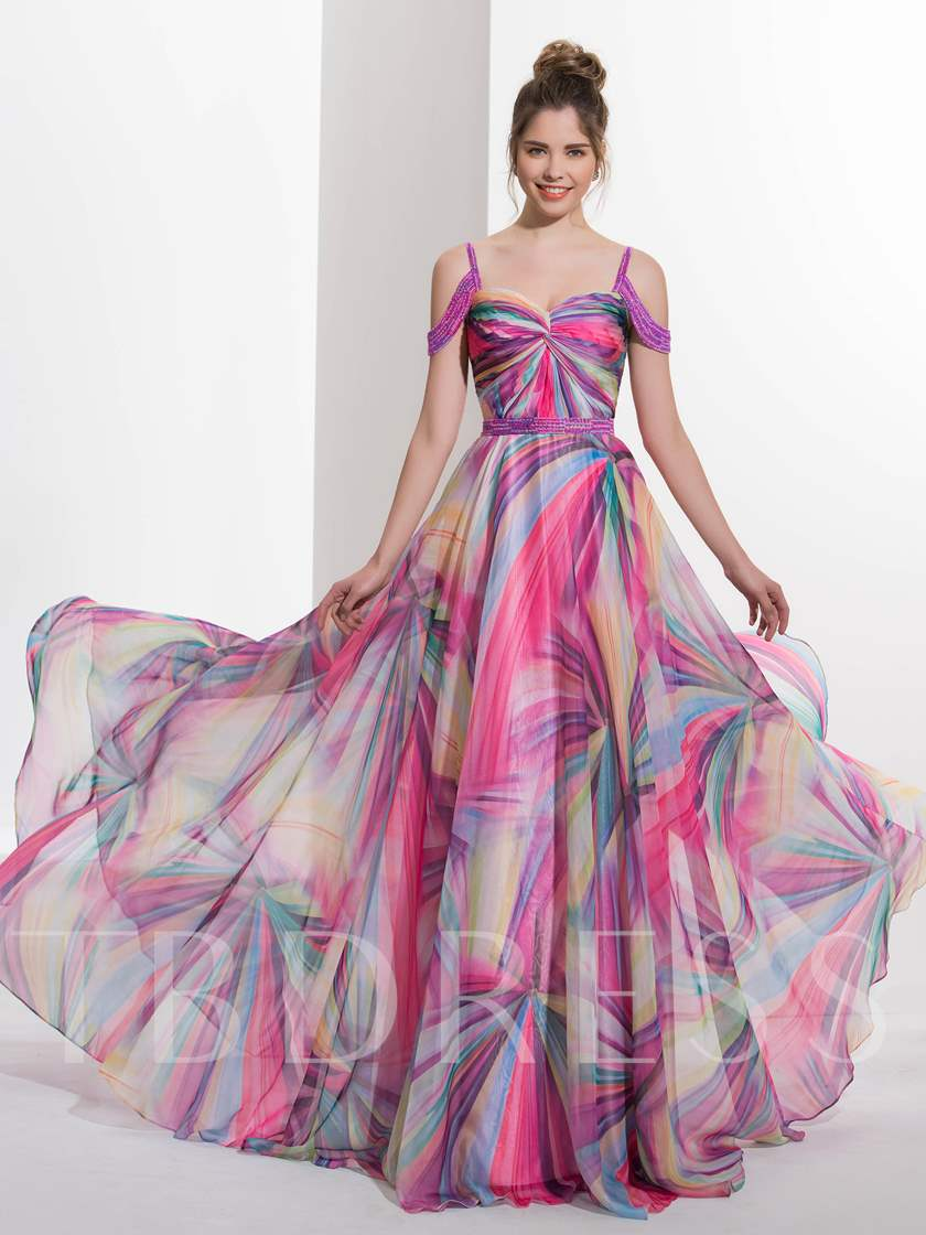 A-Line Pleats Spaghetti Straps Beading Court Train Prom Dress
