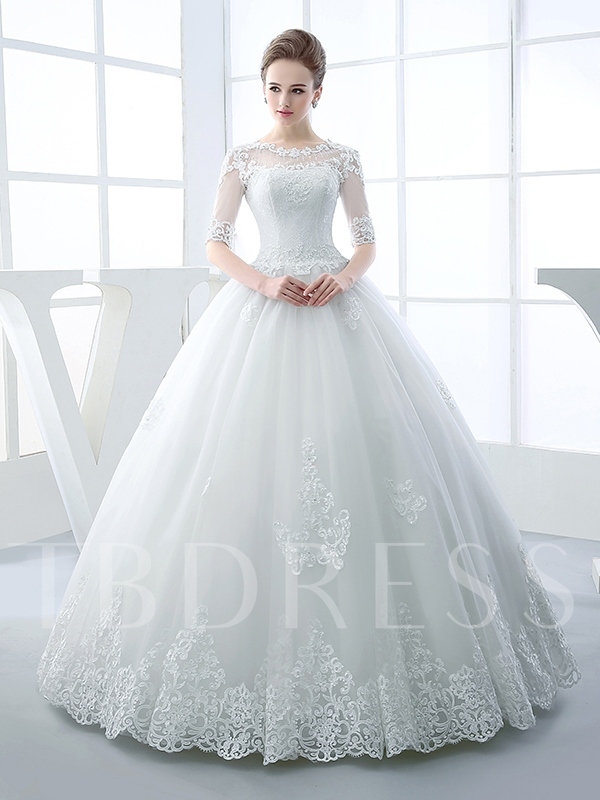 Appliques Beading Half Sleeves Ball Gown Wedding Dress