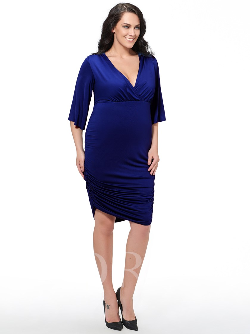 Plus Size Bodycon Flare Sleeve V-Neck Women's Day Dress