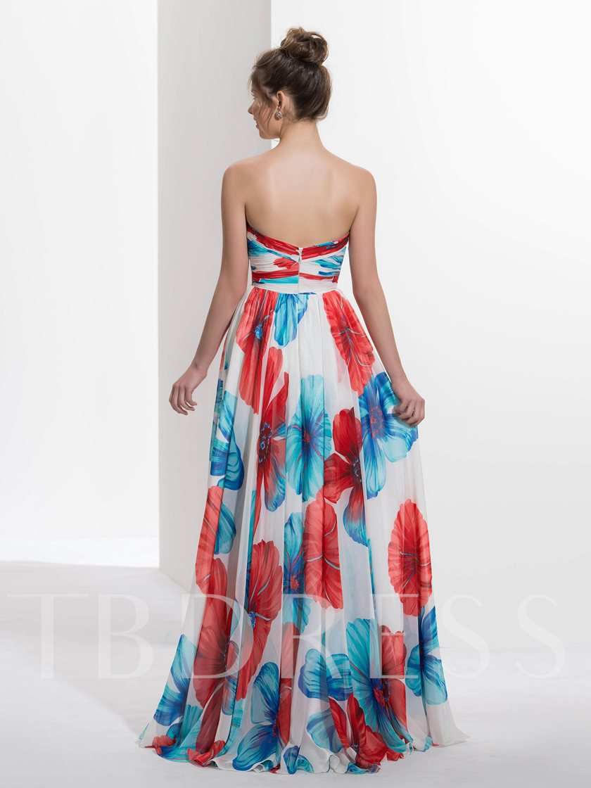 A-Line Sweetheart Printed Prom Dress