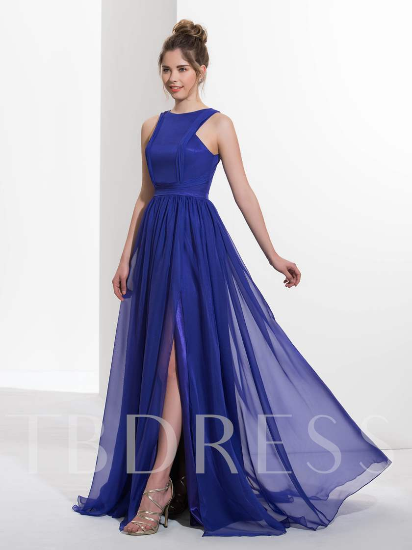 A-Line Scoop Pleats Split-Front Sweep Train Prom Dress