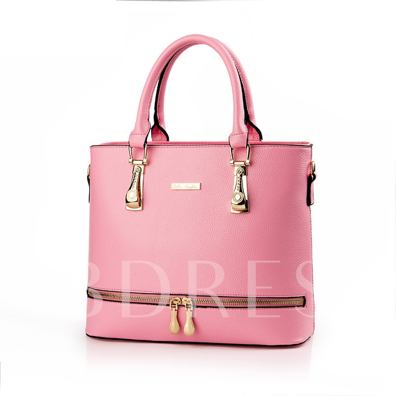 Popularity Style Zipper Decorated Tote Bag
