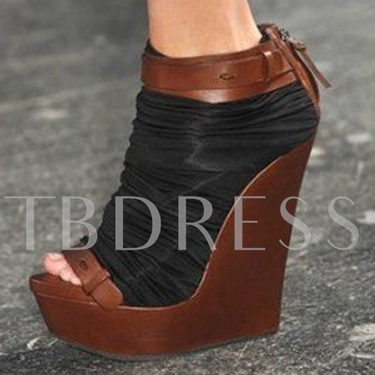Back Zipper Peep Toe Patchwork Wedge Heel Women's Sandals