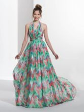 A-Line Halter Pleats Print Sweep Train Prom Dress