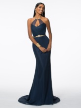 Halter Beading Long Mermaid Evening Dress