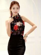 Floral Print Stand Collar Sleeveless Women's Blouse