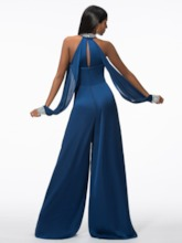 Open Shoulder Sequins Beading Evening Jumpsuits