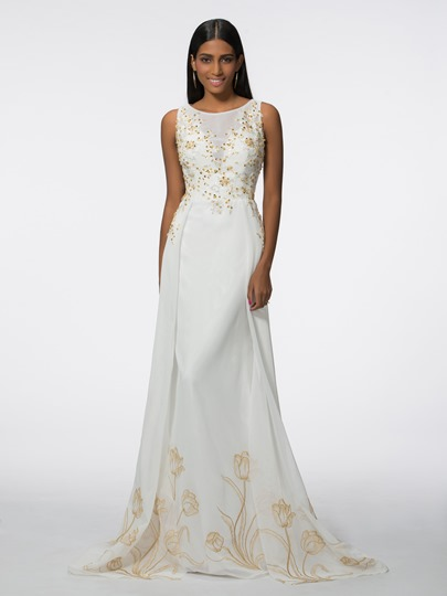 Scoop Neck Appliques Sequins A-Line Long Evening Dress