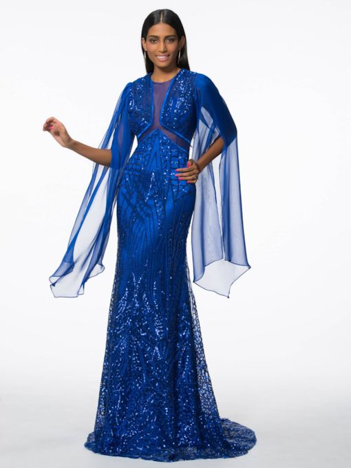 Sheath Jewel Neck Long Sleeves Sequins Evening Dress